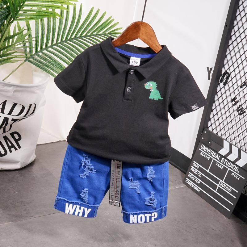 Niño lindo chico Summer Set 2020 dinosaurio de la nueva historieta de impresión de manga corta solapa camisetas + pantalones para determinados del cabrito del bebé ropa de los muchachos