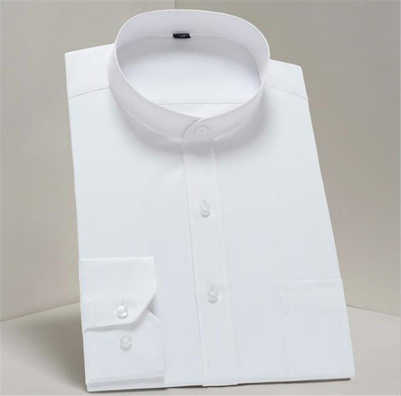 Mens Solid Color Dress Shirts Long Sleeve Mandarin Collar Business Style Homme Tshirts Slim Fit Fashion Clothing