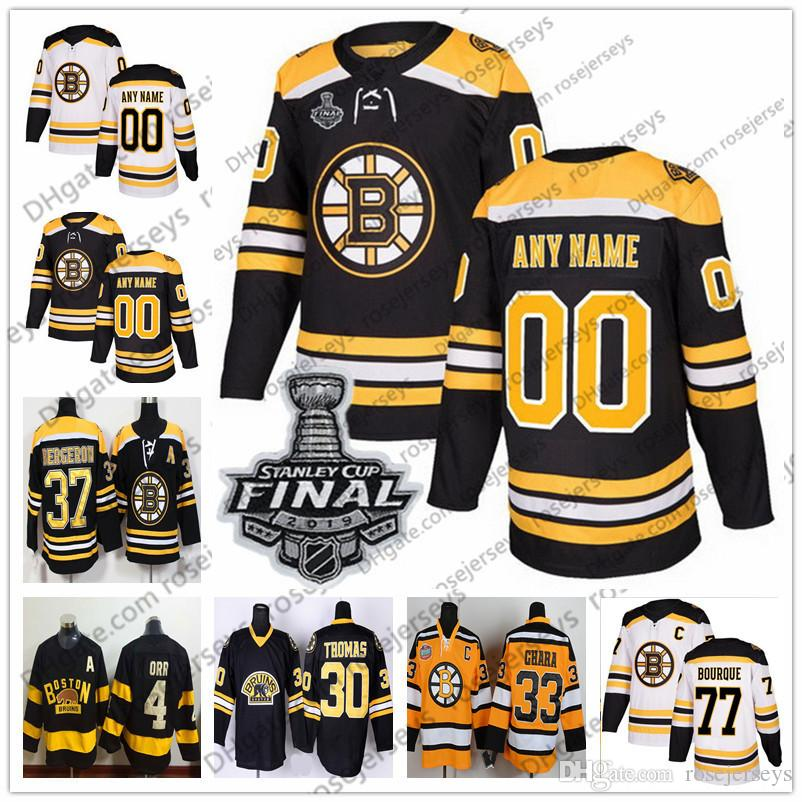 Boston Bruins 2019 Stanley Cup Retired Player Jersey #16 Derek Sanderson 24 Terry O'Reilly 30 Gerry Cheevers 77 Ray Bourque Winter Classic