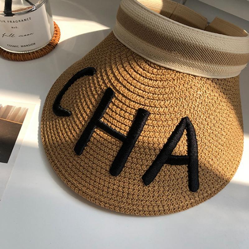 Frau Sun-Hüte Weibliche Brief Schirmmuetzen Hand Made DIY Stroh Sommer Schatten Hut leeren Zylinder Strand Hot