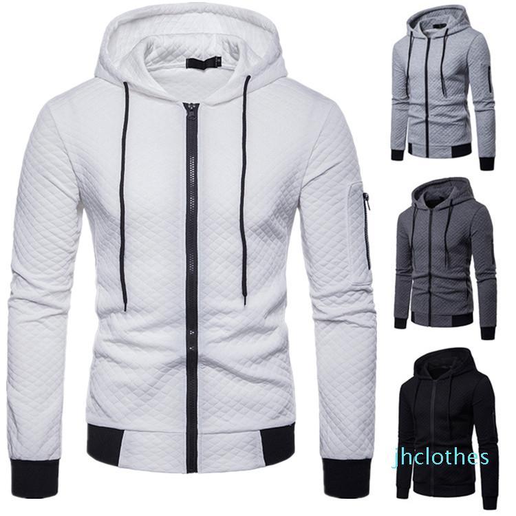 Men Jacket Casual Long Sleeve Hoodies Coat Fashion Cotton Plaid 2020s Men Jakcets Coats New Arival Zipper Design Man Outerwear Clothes