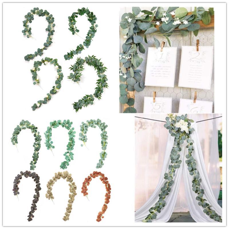 2M Düğün Dekorasyon Yapay Gül Rattan suni Sahte Bitkiler Sarmaşık Çelenk Duvar Dekor Dikey Bahçeli Yeşil Okaliptüs Vines Bitkiler