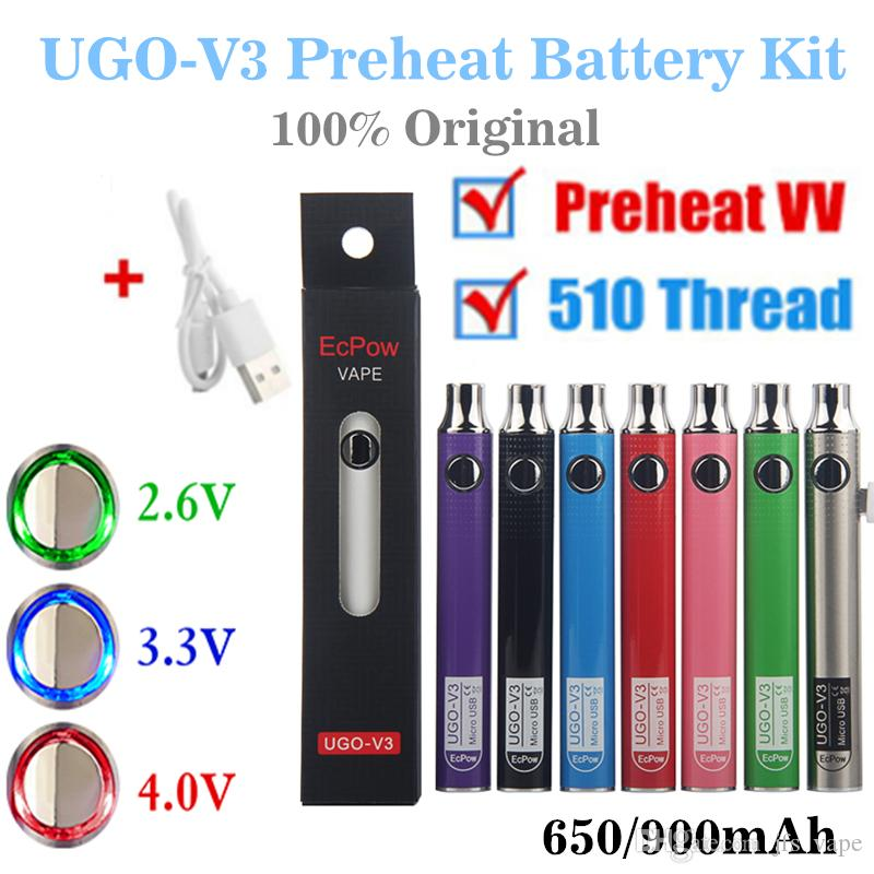 100% Original EcPow UGO V2 V3 III Vaporizer Battery Preheat Variable Voltage 510 Thread EVOD EGO Micro USB Charger Vape Pen