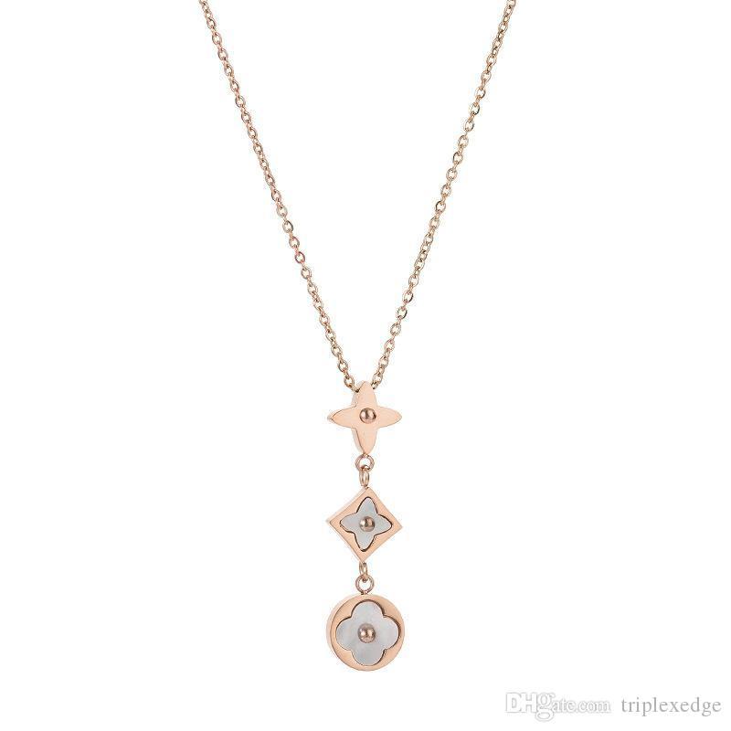 Марка классический дизайн логотипа натуральный белый корпус Медальон ожерелье высокого качества титана моды дизайнер ювелирных женщина ожерелье никогда не увядает