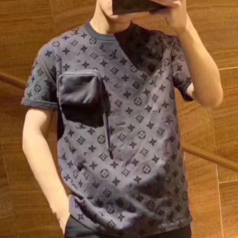 Летняя роскошная дизайнерская футболка Мужчины Женщины бренд тройники большие карманы футболка 3D письмо высокое качество джемперы повседневная блузка уличная одежда 20042401L