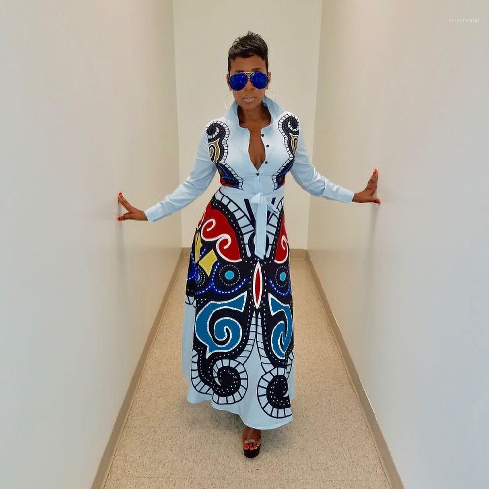 Casual vestido largo de la mariposa impresa de las mujeres camisa larga diseñador del vestido floral femenino