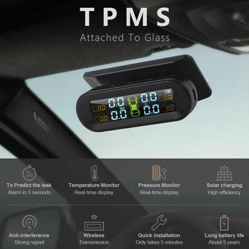 차량 외부 타이어 압력 모니터링 시스템 무선 태양 타이어 범용 USB 알람 압력 차 모니터 대시 보드 돌격 W5R5