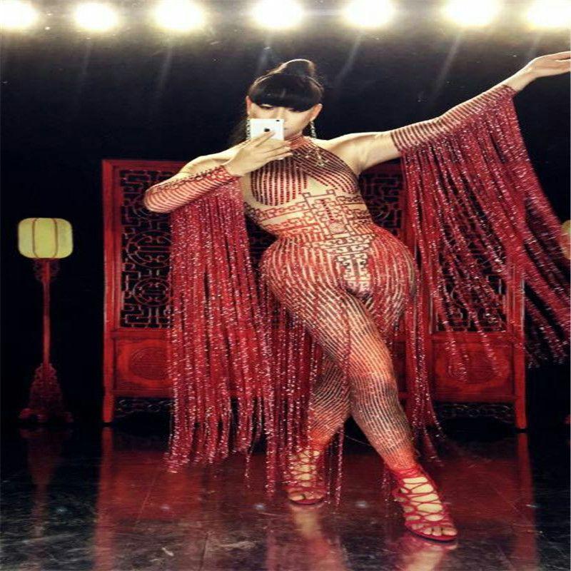 S08 Danse de salon sexy costumes spectacle de scène porte chanteuse Jumpsuit bodySuit tenue club party performance vêtement disco robes dj usure sexy