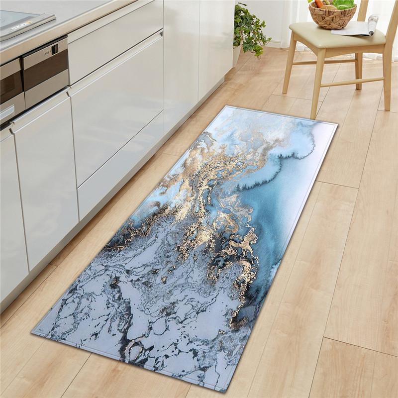 블랙 화이트 대리석 인쇄 앞에서 바보 긴 주방 매트 도어 매트는 바닥 매트 Karpet 현관 매트 발 패드 Tapete LZR75에 오신 것을 환영합니다