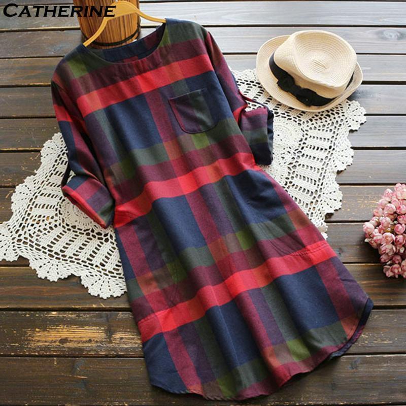 Autumn Dress Women Casual Dress Women Ladies Plaid Print Long Sleeve Loose Pocket Swing Vintage Vestidos#J3