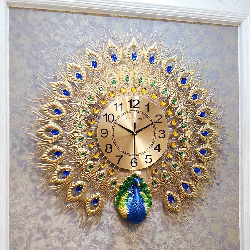 Paons, Montres, Salon, Mode Famille, Montres grandes d'Europe, Décoration murale Horloges, Creative silencieux Quartz Horloge