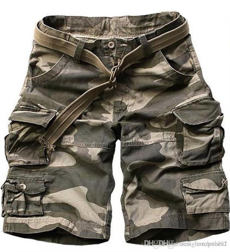 Sciogli solido Mens di colore Cargo Shorts Pantaloni Moda Uomo brevi con le tasche maschile Abbigliamento