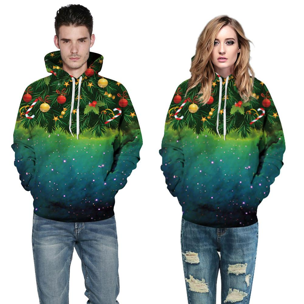 Christmas digital printing sweater Europe and the United States tide brand head loose hooded lovers jacket
