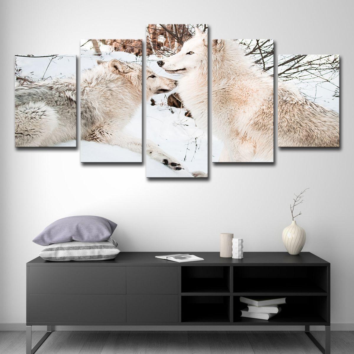 HD Impresso 5 Peças Da Lona Da Arte Da Pintura Branca de Neve Casais Lobo Cartaz Da Parede Pictures para Sala de estar Frete Grátis