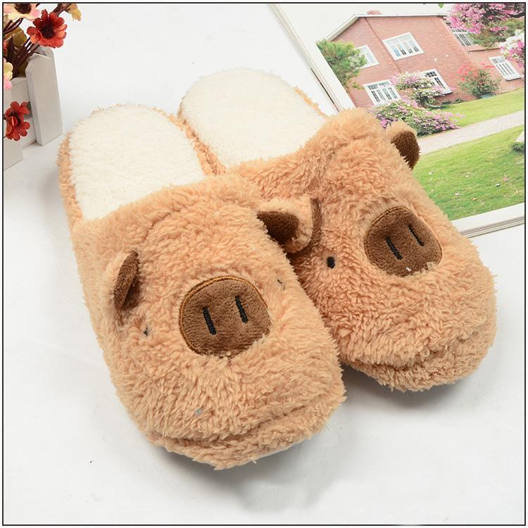 2020 invierno de los deslizadores de las mujeres de dibujos animados cerdo encantador felpa suave Sole Inicio Zapatos Pareja hombre zapatillas de interior Casa Zapatos Pantuflas