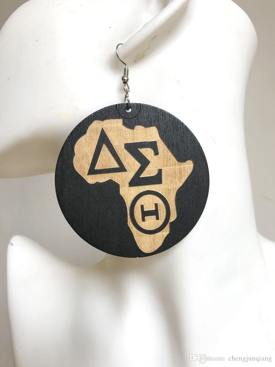 Free Shipping! Delta Sigma Theta africa wood earring , black color wood earrings, can mix