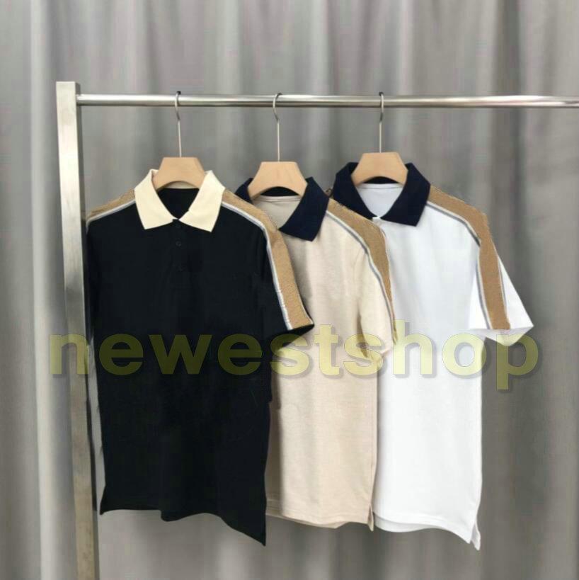2020 caldo di lusso Europa mens banda splicing maglietta di alta qualità vite di filo di cotone POLO stampa della lettera magliette progettista magliette casual tee