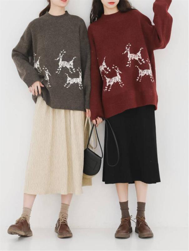 여성 스웨터 봄 가을 겨울의 간단한 느슨한 풀오버 레드 캐주얼 니트 스웨터 플러스 사이즈 크리스마스 점퍼 탑 35 kawail