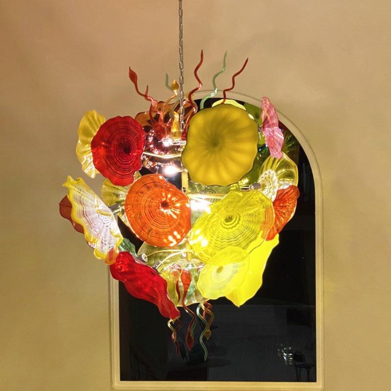 زجاج مورانو زهرة أضواء الثريا في مهب الزجاج لوحات مصابيح مصباح 52 بوصة فن الديكور LED اليد في مهب زجاج الثريا الإضاءة