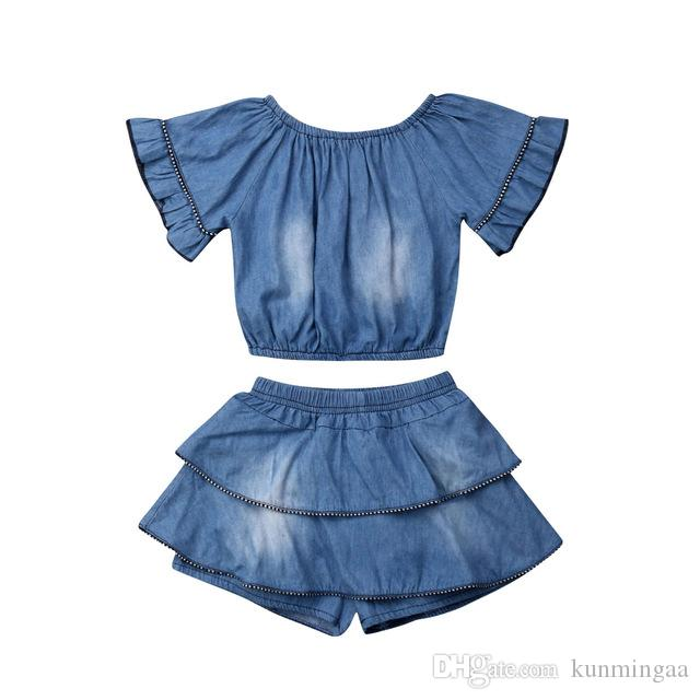 2019 Estate Toddler Kids Baby Girl Blue Denim Blue Tops Layered Ruffle Shorts Outfit Set abbigliamento casual