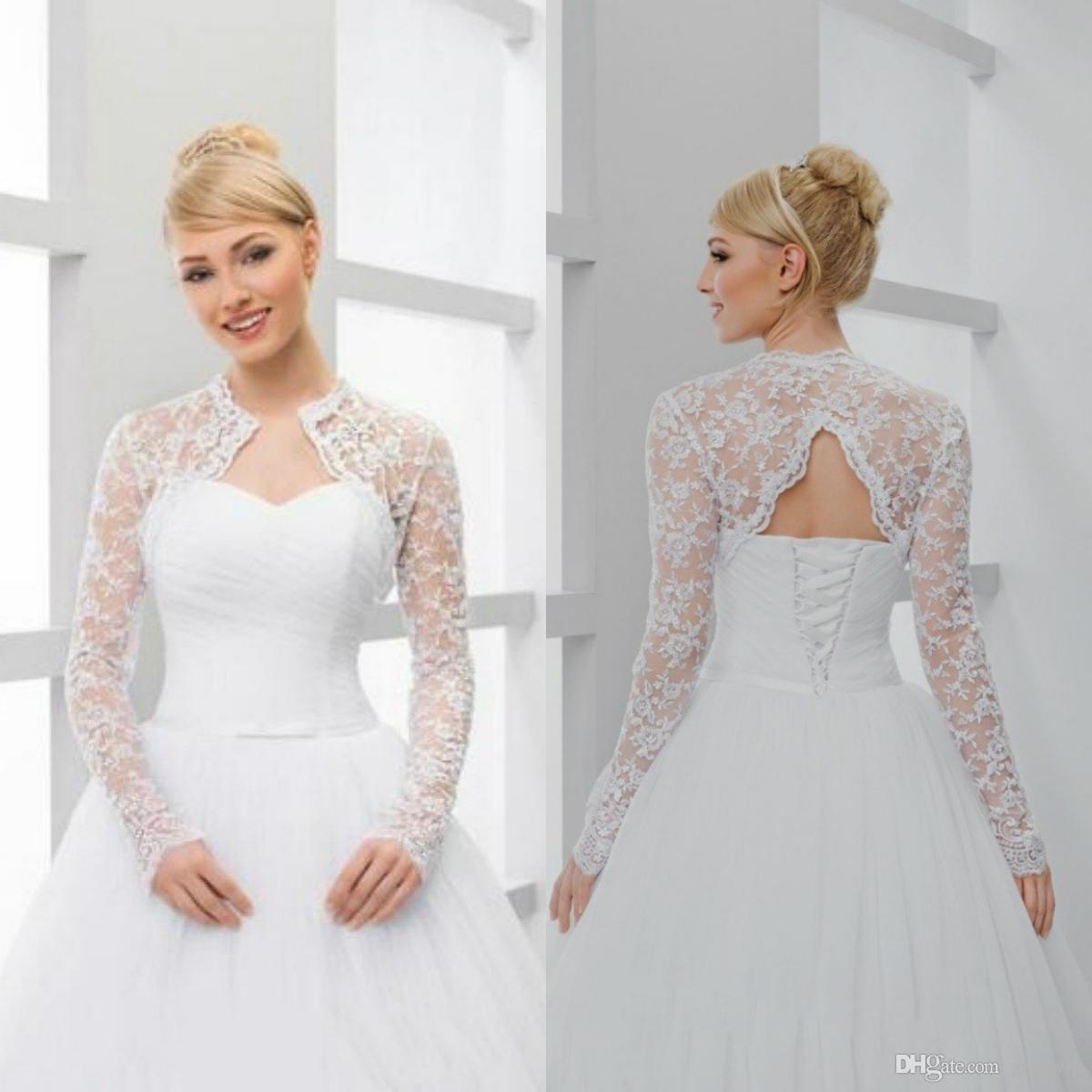 Spitze-Brautjacken Hochzeit Bolero Weiß Elfenbein Langarm Short Brautschal Wraps für Hochzeit Kleid-Abend-Partei