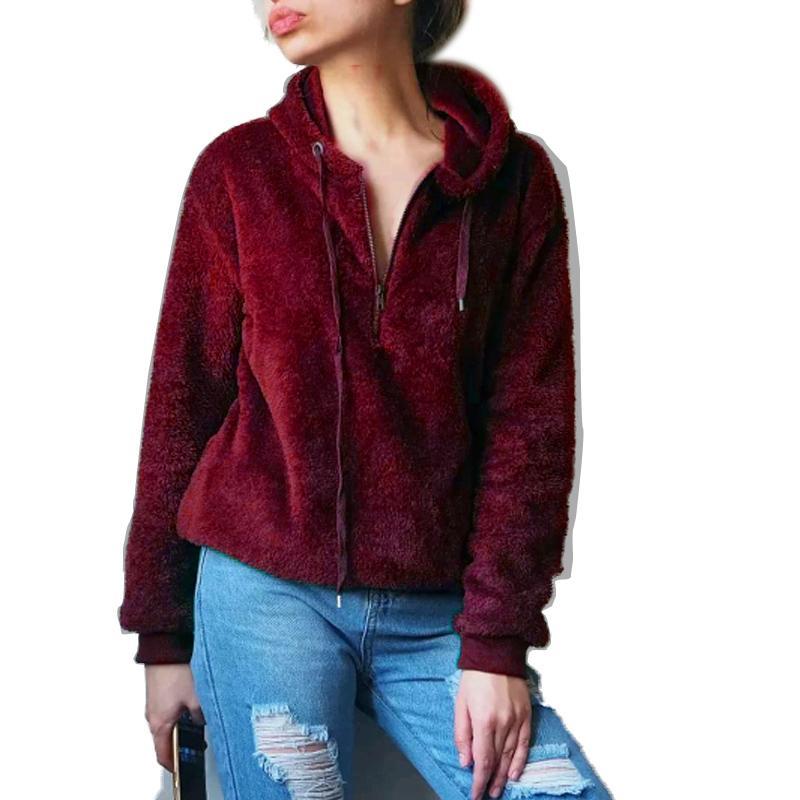 Flanell Reißverschluss Pullover Frauen 2019 New European American Fashion Übergroße Sweter Frauen Mantel Winter Pullover Tops Sueter Mujer