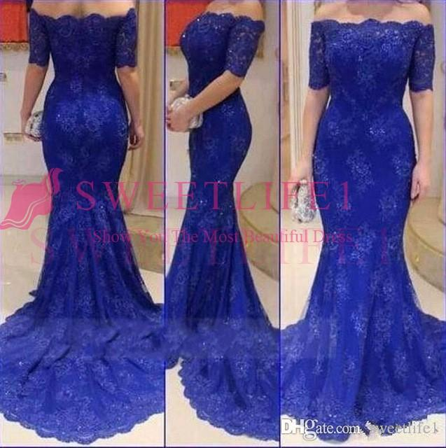 2020 Royal Blue fora do ombro mangas curtas Prom Dresses Sereia vestes formais Plus Size Traje a Rigor partido de soirée