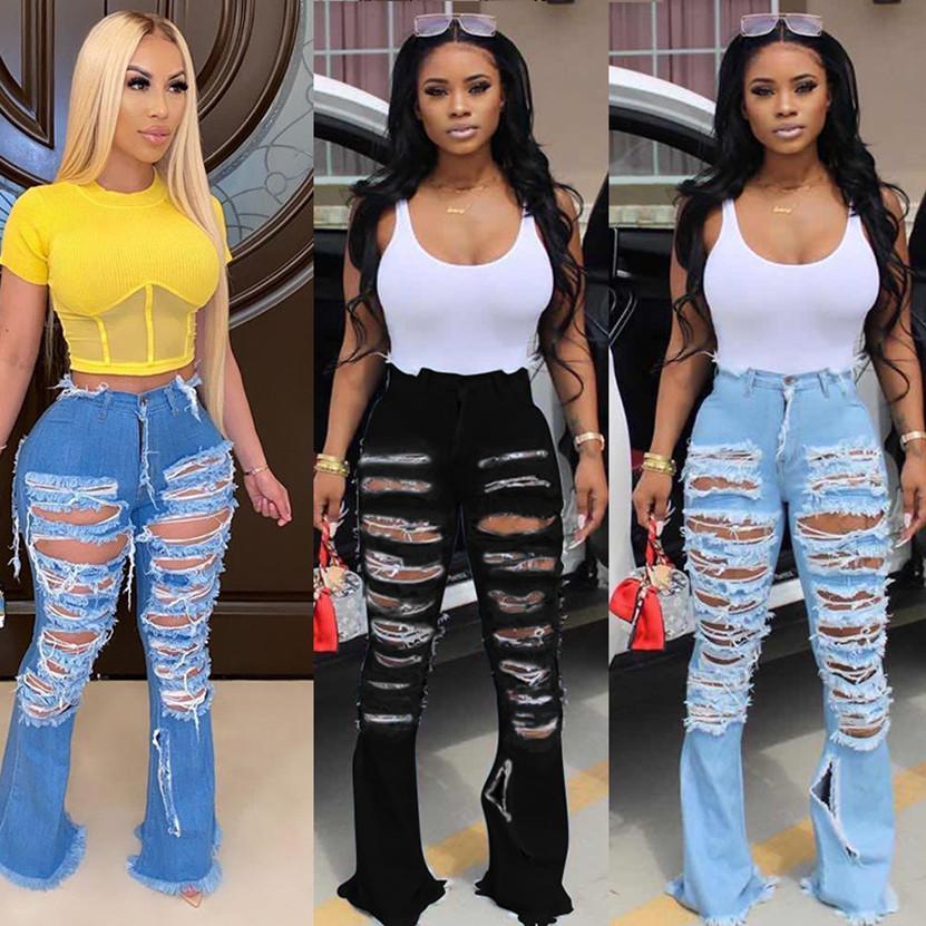 XL 여성 블루 벨 바닥 strethy 청바지 브랜드 찢어 구멍이 바지 유행 플레어 팬츠 패션 검은 높은 허리 레깅스 3265 데님 세척