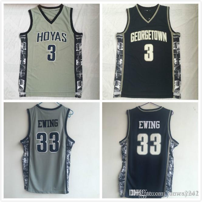 Hommes Georgetown Hoyas Iverson College Jersey pas cher 3 Allen Iverson 33 Patrick Ewing University Basketball Shirt Bon Jersey cousu