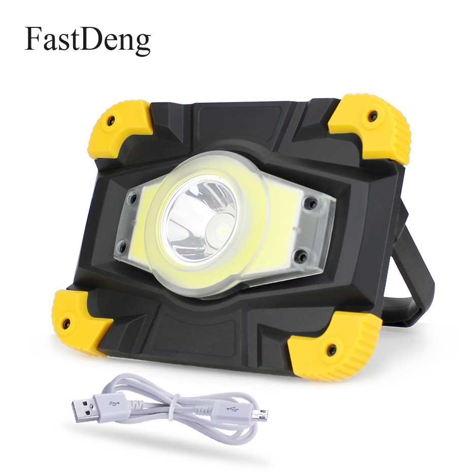 LED Portable Spotlight LED Work Light Rechargeable 20w COB Floodlight Searchlight Waterproof USB Power Bank For Outdoot Lighting
