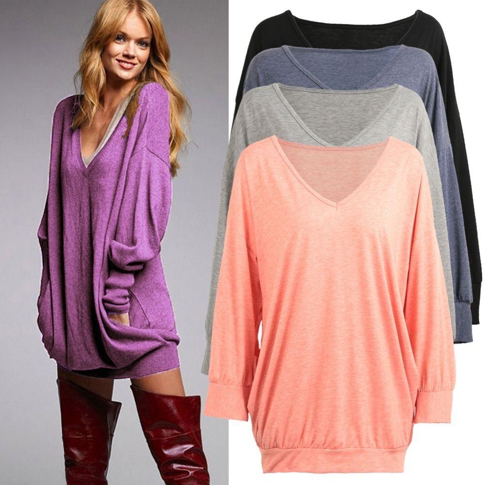 Plus Size 3xl 4xl 5xl T Shirt Women Tops Deep V Neck Sleeve Faux Pocket Solid Design Loose Long Casual T-shirt Female Tunic C19042101