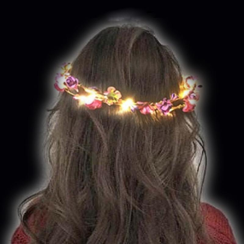 Party For Women Girls Wreath Headwear Glowing Hair Accessories LED Light 1pc