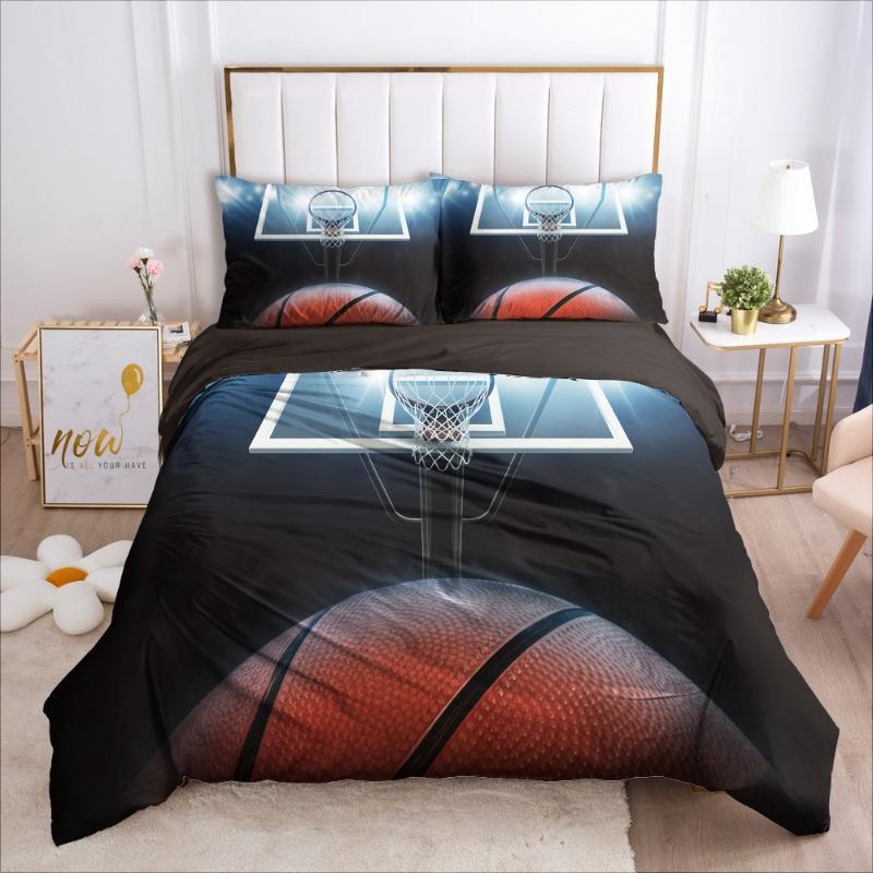 3D 침구 농구 이불 이불 커버 세트 이불 침대 리넨 베개 왕 여왕 전체를 두 번 크기 사용자 정의 홈 Texitle을 설정합니다