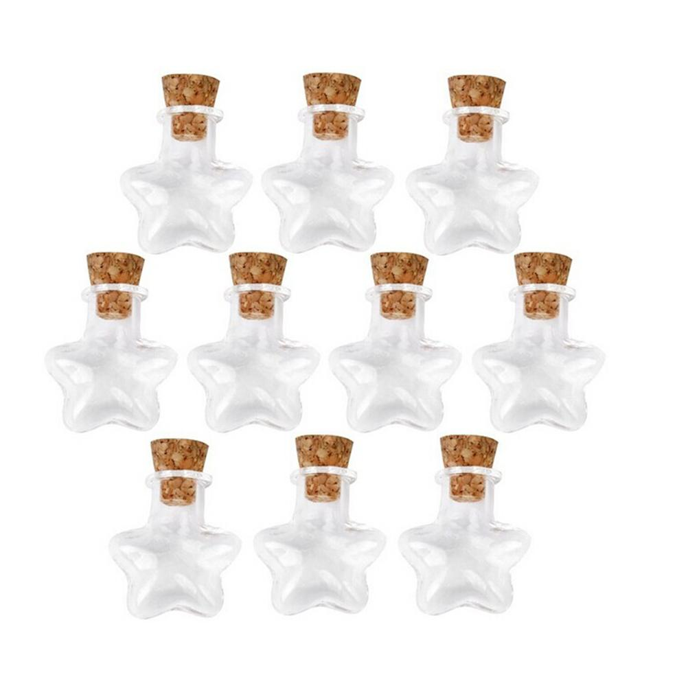 1000pcs Star Shape Mini Glass Bottles Jewelry Beads Display Vials Jars Containers Small Wishing Bottle