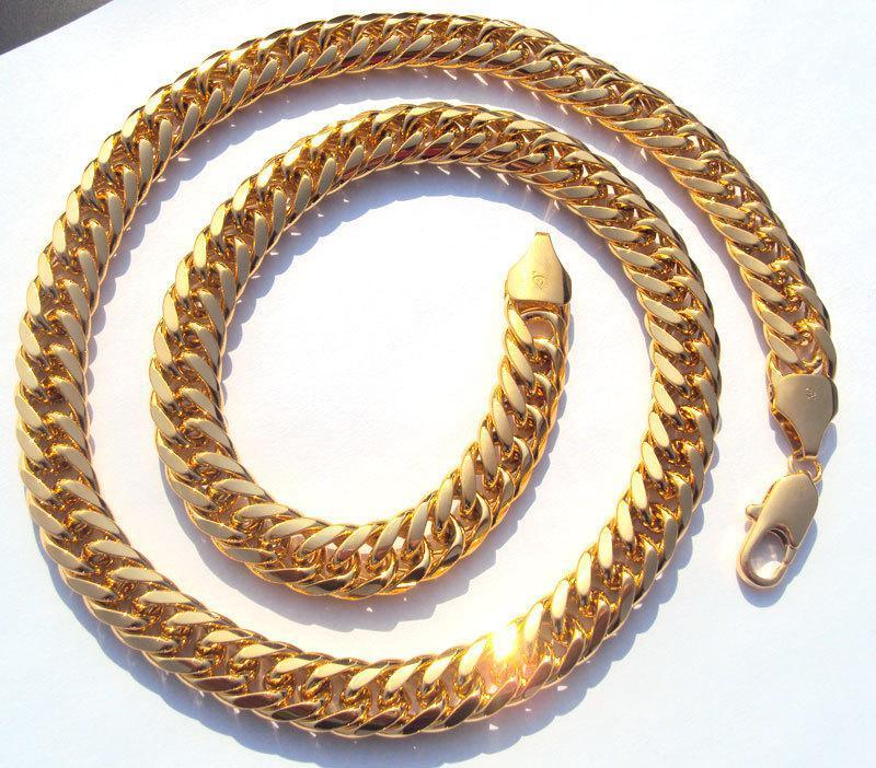 패션 목걸이 체인 중공업 MENS은 SOLID GOLD 마무리 두꺼운 마이애미 쿠바 LINK 목걸이 체인 무료 배송 채워진