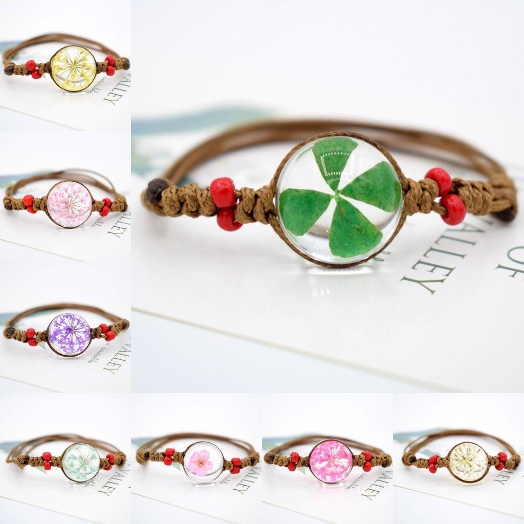 Moda seca Patrón pulsera flor Tide Bola de cristal pulseras Star Quality pulsera al por mayor regalo conmemorativo de alta Weaving