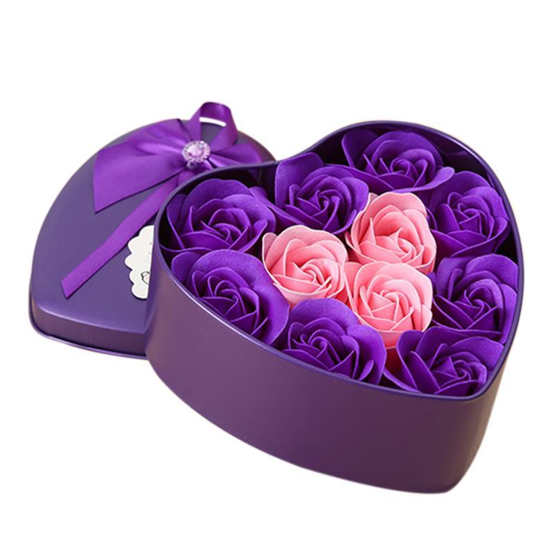 Forma 11pcs / Box fiori artificiali Rose Sapone Cuore del fiore DIY nozze di decorazione per Souvenir Regali San Valentino Flore-viola