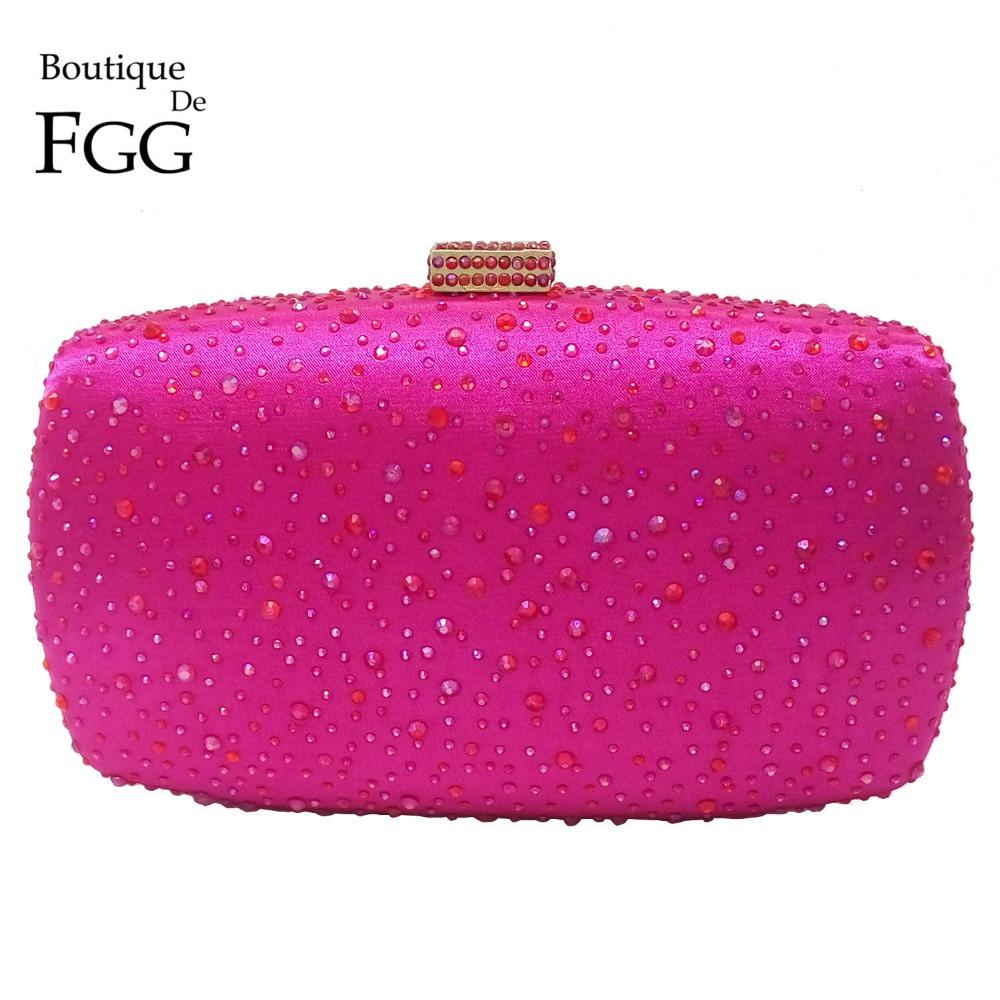 Boutique De FGG Hot Pink Fucsia Cristal Diamante Mujeres Bolso de la tarde Minaudiere Embrague Nupcial Embragues Embragues Bolso