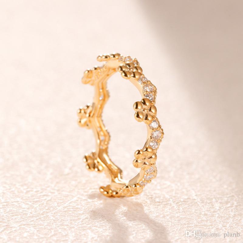 Or jaune 18 carats mariage Boîte de bague originale pour Pandora Couronne 925 anneaux Argent ensembles femmes mariage bague cadeau