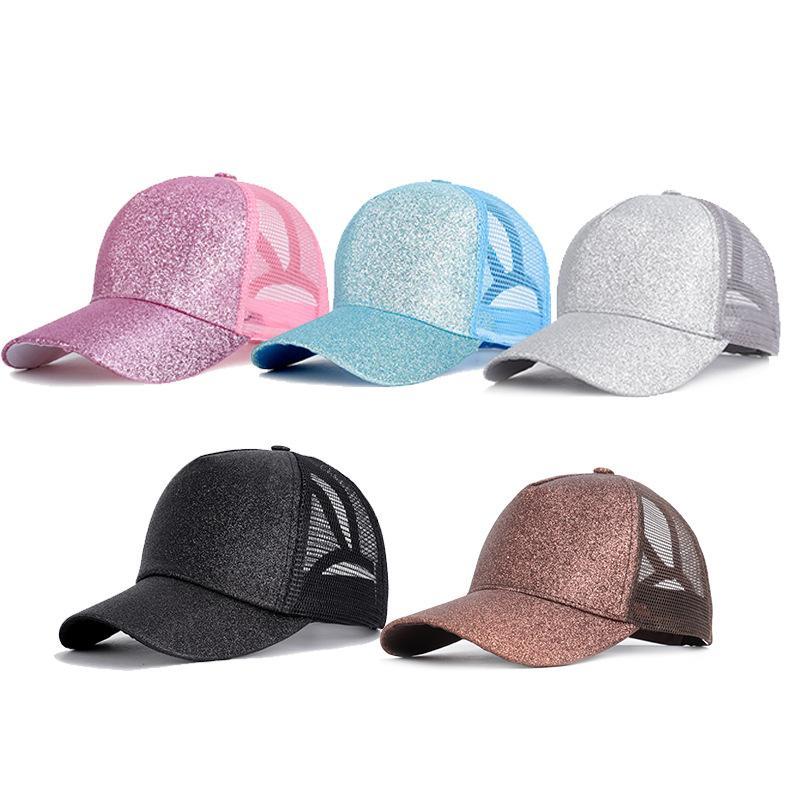 Glitter at kuyruğu Ball Cap Kadın At Kuyruğu Beyzbol şapkası Dağınık Bun Trucker Ponycaps Baba Şapka Glitter Güneş Parti Şapkası
