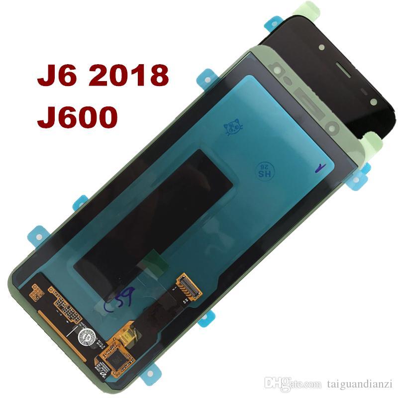 Süper Amoled Samsung Galaxy Için J6 J600 2018 J600F J600F / DS J600G / DS LCD Ekran + Dokunmatik Ekran Yedek Parçalar siyah