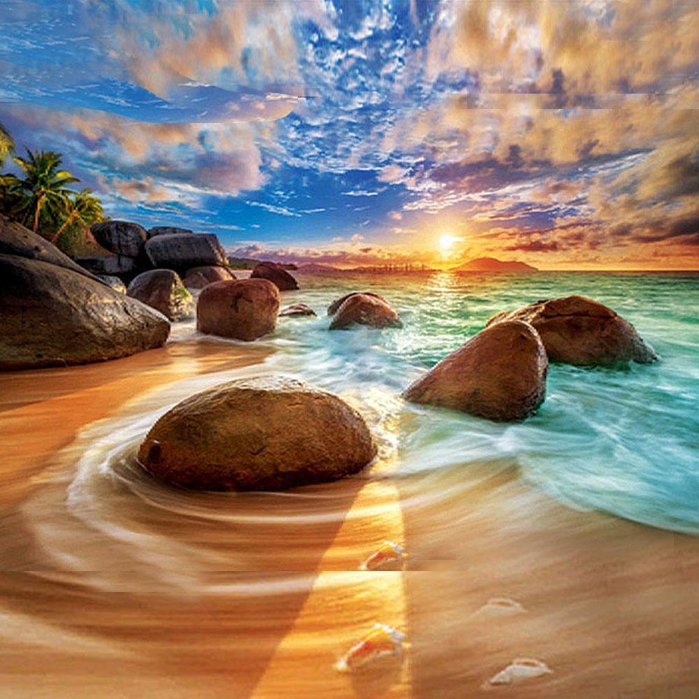 5D كاملة حفر فسيفساء الماس صورة زيتية فن الكبار للأطفال شروق الشمس في البحر الماس DIY للمنزل ديكور الحائط عبر الابره مجموعات 30cmX40cm