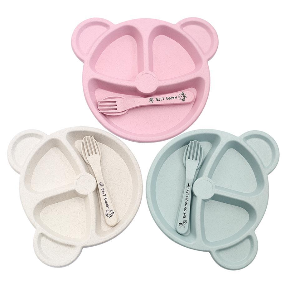 3 pièces / set de bébé alimentation BOL couverts alimentaire + cuillère + dessin animé fourchette bébé ours manger plaque de formation dishware résistant à la chaleur