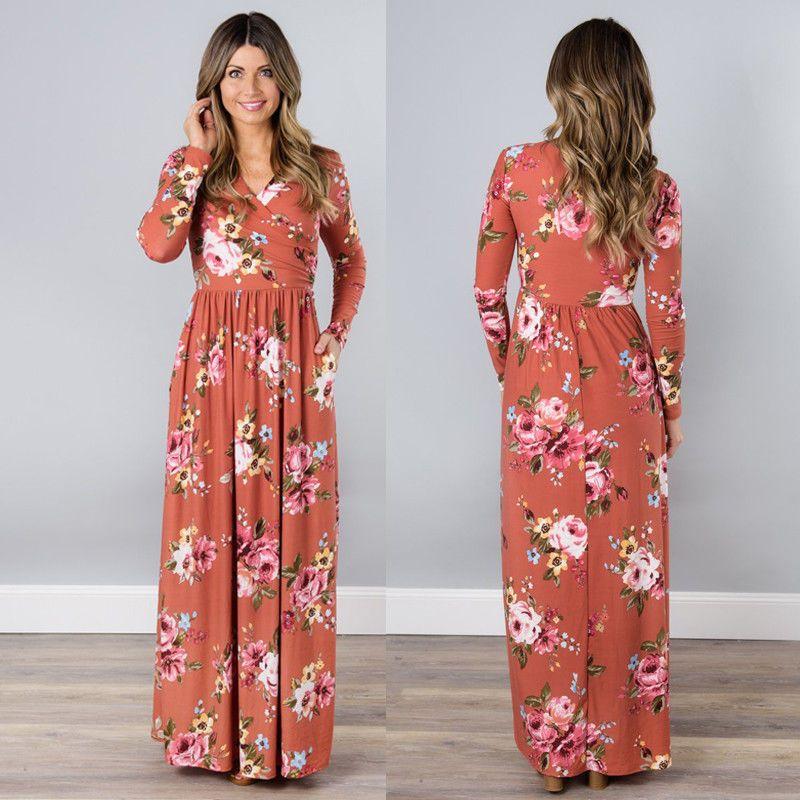 2018 Art und Weise süße eleganten Frauen-Abend-Partei-Kleid-lange Hülse mit V-Ausschnitt Gerade Blumendruck mit hohen Taille knöchellangen Kleid