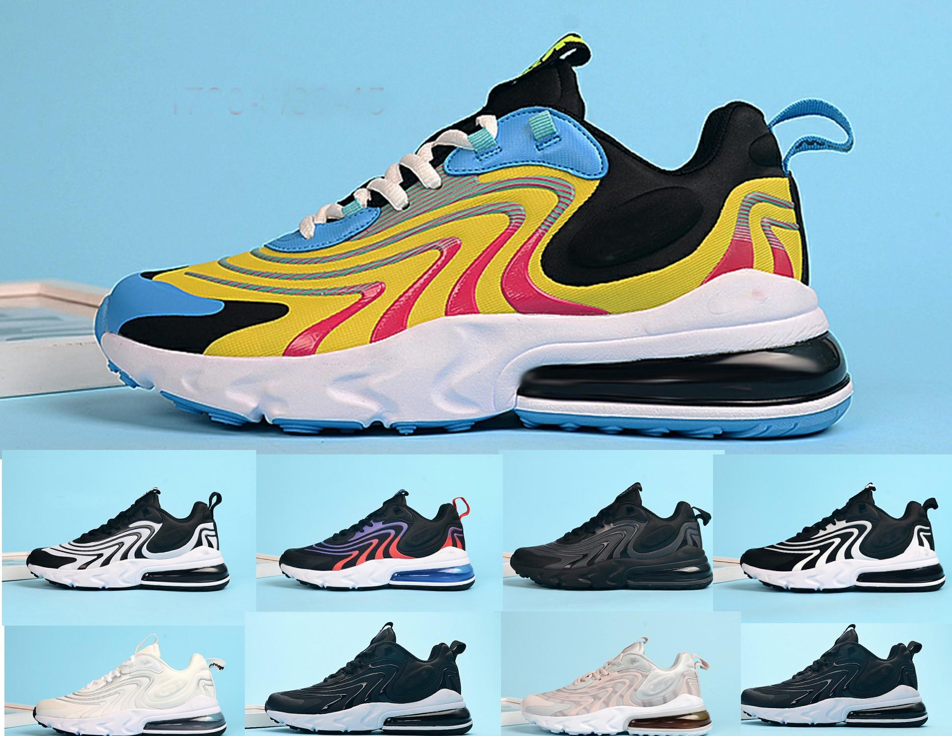 Nouveau script React ENG chaussures de course métalliques en or 270S Il suffit Blanchi hommes Coral Dusk femmes chaussures de marque triple de sport