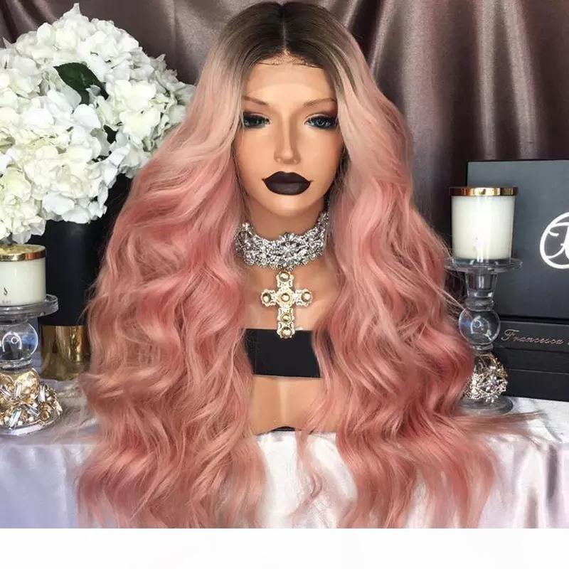 Moda Ombre rosa parrucca Kylie Jenner anteriore del merletto parrucche sintetiche ondulate Glueless radice nero rosa termoresistente capelli delle donne Parrucche