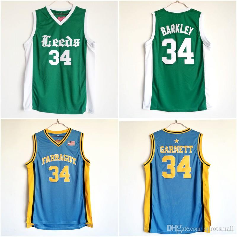 Mens #34 Kevin Garnett Farragut High School Basketball Jerseys Mens #34 Charles Barkley Leeds High School Jersey