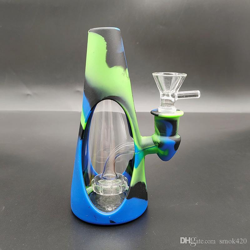 Silicone bongs Colorful Conical pipes glass pipe glass bong pipe smoking pipe five colors pipes
