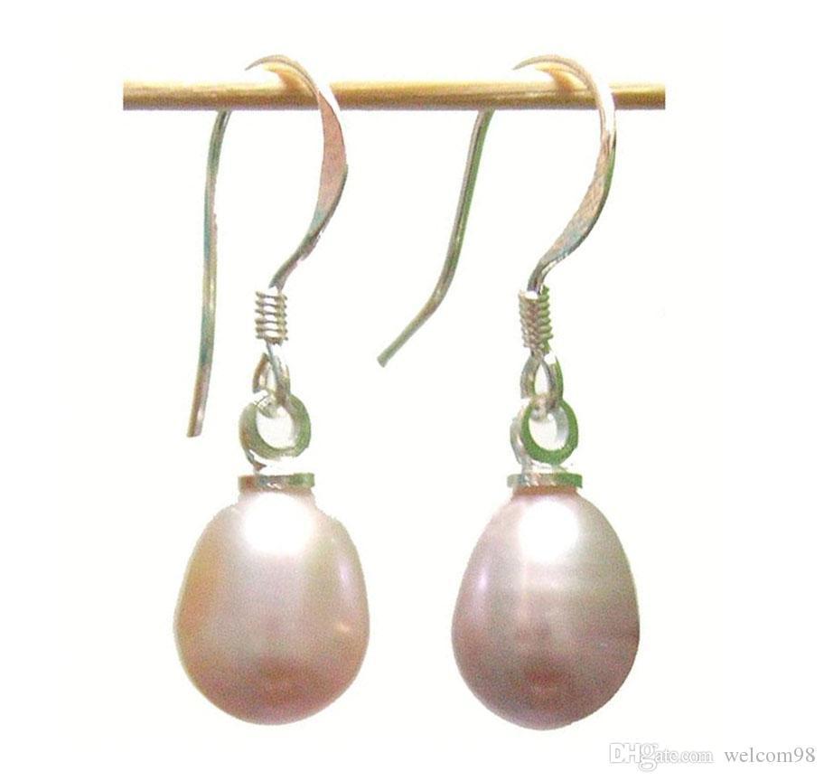 10 вариантов / лота мода фиолетовый жемчужный серьги серебряный крючок болтаться люстрами для подарочных ремесло ювелирные изделия серьги AC02 *