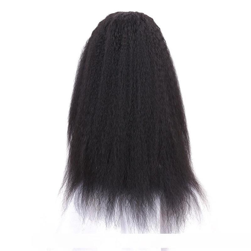 Kadınlar Siyah Renk Peruk için 24inch Dantel Açık Peruk Uzun Kinky Düz Peruk Isıya Dayanıklı Sentetik Peruk